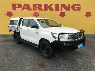 2015 Toyota Hilux GUN126R SR Double Cab White 6 Speed Manual Cab Chassis.