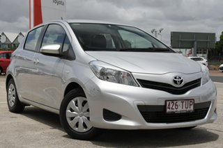 2013 Toyota Yaris NCP130R YR Silver Pearl 5 Speed Manual Hatchback.
