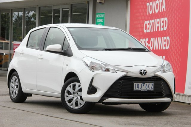 Pre-Owned Toyota Yaris NCP130R Ascent Glen Waverley, 2019 Toyota Yaris NCP130R Ascent Glacier White 4 Speed Automatic Hatchback