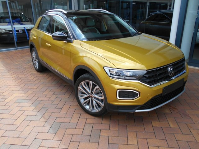 Demo Volkswagen T-ROC A1 MY21 110TSI Style Toowoomba, 2020 Volkswagen T-ROC A1 MY21 110TSI Style Curcuma Yellow & Black Roof 8 Speed Sports Automatic