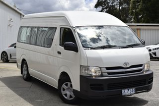 2009 Toyota HiAce TRH223R MY10 Commuter High Roof Super LWB White 5 Speed Manual Bus.