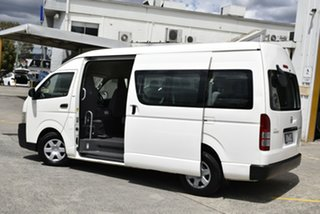 2009 Toyota HiAce TRH223R MY10 Commuter High Roof Super LWB White 5 Speed Manual Bus