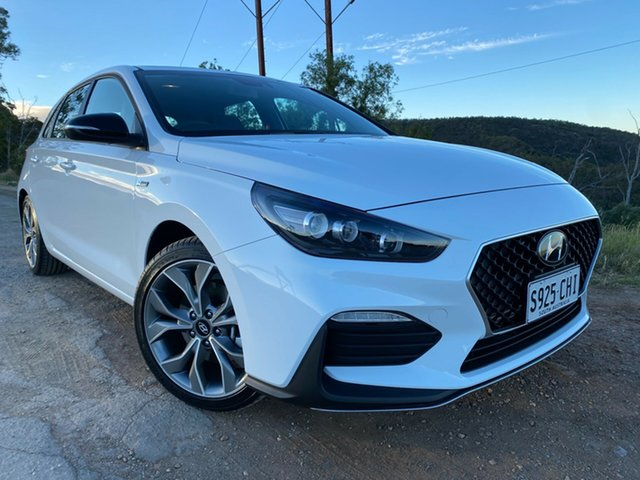 Demo Hyundai i30 PD.V4 MY21 N Line D-CT Nailsworth, 2020 Hyundai i30 PD.V4 MY21 N Line D-CT Polar White 7 Speed Sports Automatic Dual Clutch Hatchback