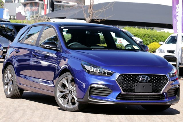 New Hyundai i30 PD.V4 MY21 N Line Premium South Melbourne, 2020 Hyundai i30 PD.V4 MY21 N Line Premium Intense Blue 7 Speed Auto Dual Clutch Hatchback