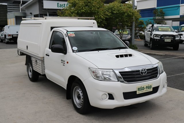 Used Toyota Hilux KUN16R MY12 Workmate 4x2 Robina, 2012 Toyota Hilux KUN16R MY12 Workmate 4x2 White 5 speed Manual Cab Chassis