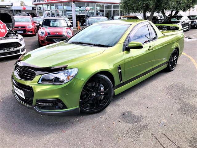 Used Holden Ute VF MY15 SS V Ute Redline Seaford, 2015 Holden Ute VF MY15 SS V Ute Redline Green 6 Speed Manual Utility