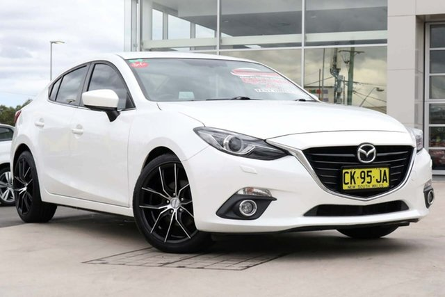 Used Mazda 3 BM5236 SP25 SKYACTIV-MT GT Liverpool, 2014 Mazda 3 BM5236 SP25 SKYACTIV-MT GT Snowflake White Pearl 6 Speed Manual Sedan