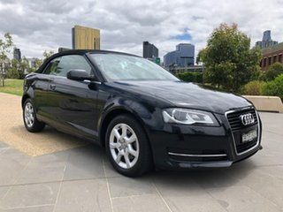 2010 Audi A3 8P MY11 TFSI S Tronic Attraction Black 7 Speed Sports Automatic Dual Clutch Convertible.