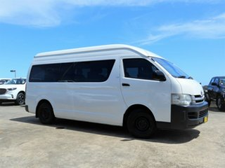 2009 Toyota HiAce TRH223R MY08 Commuter High Roof Super LWB White 4 Speed Automatic Bus.