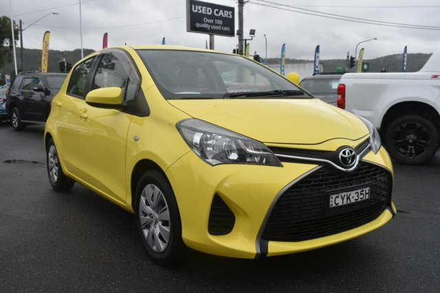 Used Toyota Yaris NCP130R Ascent Gosford, 2015 Toyota Yaris NCP130R Ascent Yellow 5 Speed Manual Hatchback
