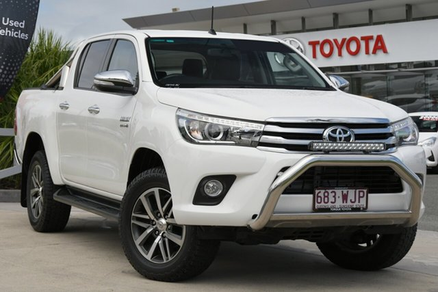 Pre-Owned Toyota Hilux GUN126R SR5 Double Cab North Lakes, 2016 Toyota Hilux GUN126R SR5 Double Cab Glacier White 6 Speed Manual Utility