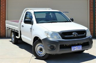 2011 Toyota Hilux TGN16R MY10 Workmate 4x2 White 5 Speed Manual Cab Chassis.