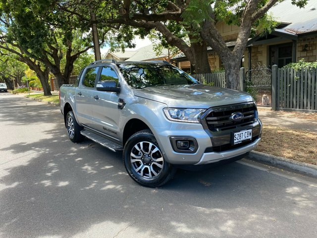 Pre-Owned Ford Ranger PX MkIII 2019.75MY Wildtrak Hawthorn, 2019 Ford Ranger PX MkIII 2019.75MY Wildtrak Silver 10 Speed Sports Automatic Double Cab Pick Up
