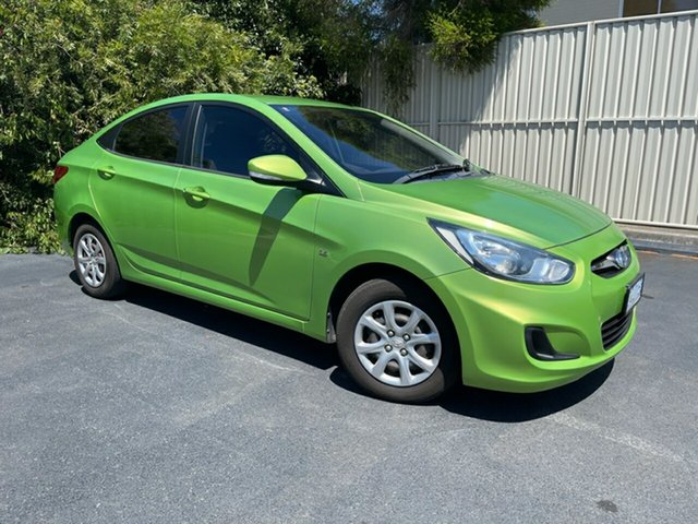 Used Hyundai Accent RB Active Devonport, 2012 Hyundai Accent RB Active Green Apple 5 Speed Manual Sedan