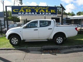 2014 Mitsubishi Triton MN MY14 Update GLX (4x4) White 4 Speed Automatic 4x4 Double Cab Chassis.