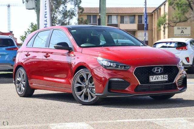 Demo Hyundai i30 PD.V4 MY21 N Line D-CT Premium Warwick Farm, 2020 Hyundai i30 PD.V4 MY21 N Line D-CT Premium Fiery Red 7 Speed Sports Automatic Dual Clutch