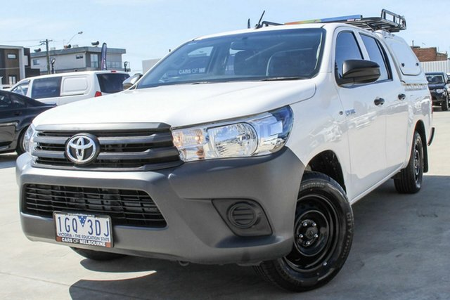 Used Toyota Hilux TGN121R Workmate Double Cab 4x2 Coburg North, 2015 Toyota Hilux TGN121R Workmate Double Cab 4x2 White 6 Speed Sports Automatic Utility