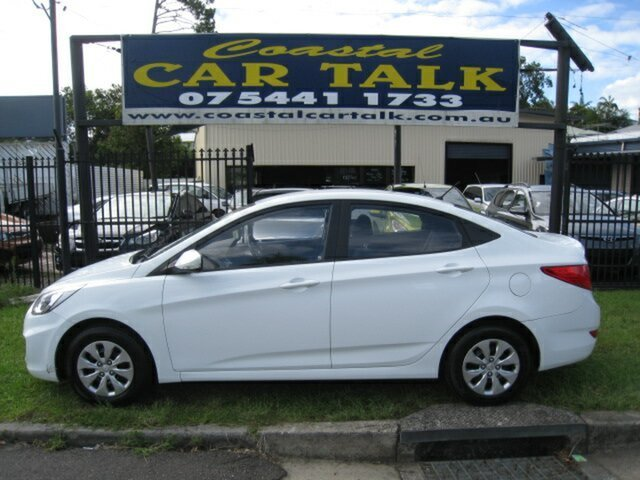 Used Hyundai Accent RB Active Nambour, 2015 Hyundai Accent RB Active White 5 Speed Manual Sedan