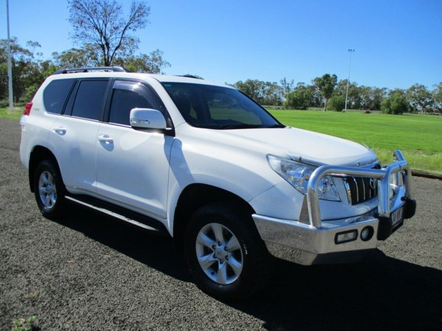 Pre-Owned Toyota Landcruiser Prado KDJ150R 11 Upgrade GXL (4x4) Roma, 2012 Toyota Landcruiser Prado KDJ150R 11 Upgrade GXL (4x4) Glacier White 5 Speed Sequential Auto