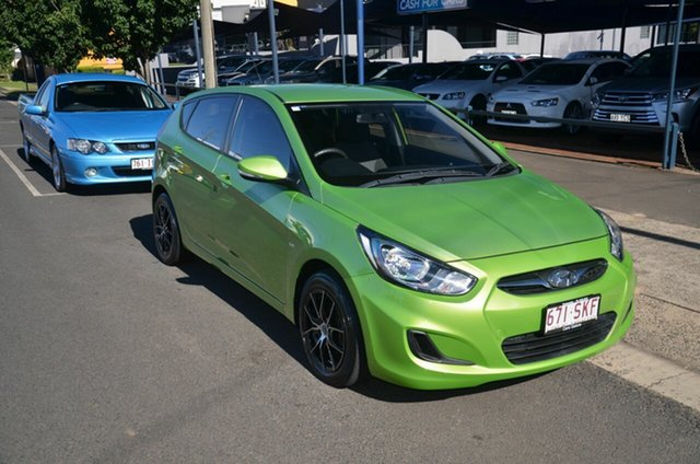 Used Hyundai Accent RB Active Toowoomba, 2012 Hyundai Accent RB Active Green 4 Speed Automatic Hatchback