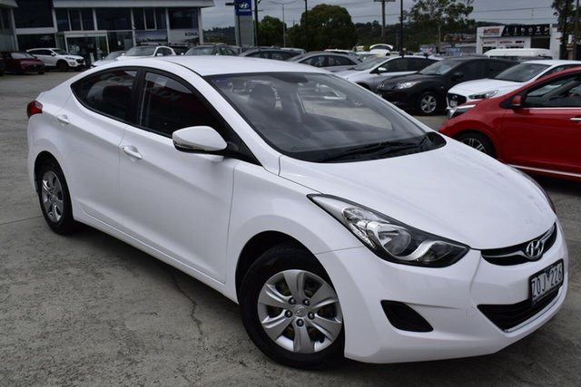 Used Hyundai Elantra MD Active Ferntree Gully, 2012 Hyundai Elantra MD Active White 6 Speed Sports Automatic Sedan
