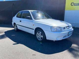 2002 Hyundai Accent LC GL Noble White 5 Speed Manual Hatchback.