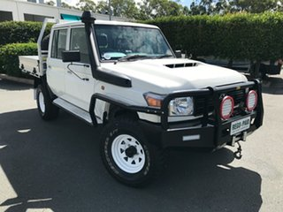2016 Toyota Landcruiser VDJ79R Workmate Double Cab French Vanilla 5 speed Manual Cab Chassis.