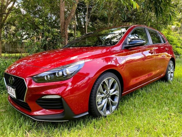 Demo Hyundai i30 PD.V4 MY21 N Line D-CT Mount Gravatt, 2020 Hyundai i30 PD.V4 MY21 N Line D-CT Fiery Red 7 Speed Sports Automatic Dual Clutch Hatchback