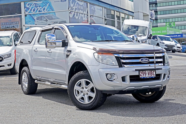 Used Ford Ranger PX XLT Double Cab 4x2 Hi-Rider Springwood, 2012 Ford Ranger PX XLT Double Cab 4x2 Hi-Rider Silver 6 Speed Sports Automatic Utility