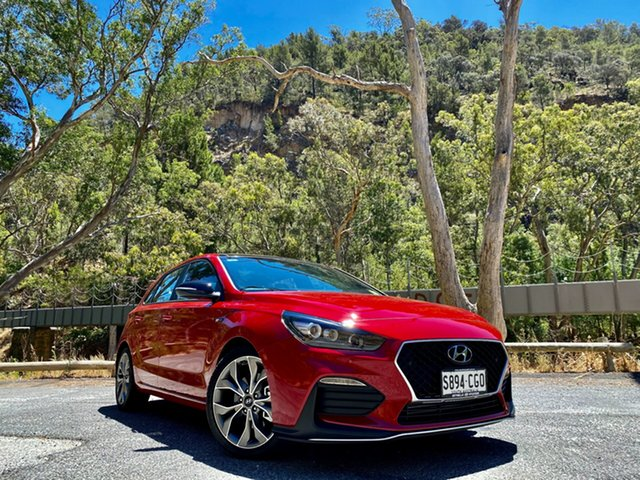 Demo Hyundai i30 PD.V4 MY21 N Line D-CT Premium Reynella, 2020 Hyundai i30 PD.V4 MY21 N Line D-CT Premium Fiery Red 7 Speed Sports Automatic Dual Clutch