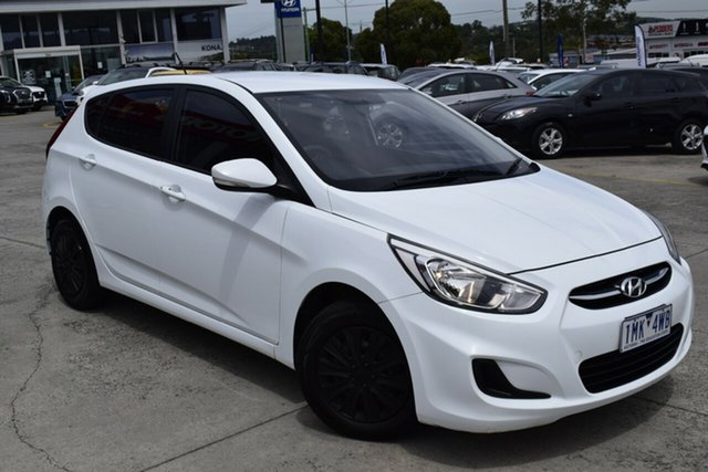 Used Hyundai Accent RB4 MY16 Active Ferntree Gully, 2016 Hyundai Accent RB4 MY16 Active White 6 Speed Constant Variable Hatchback