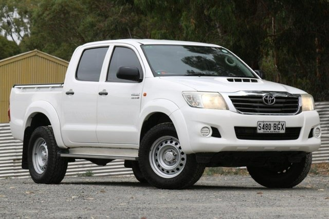 Used Toyota Hilux KUN26R MY12 SR Double Cab Clare, 2012 Toyota Hilux KUN26R MY12 SR Double Cab White 4 Speed Automatic Utility