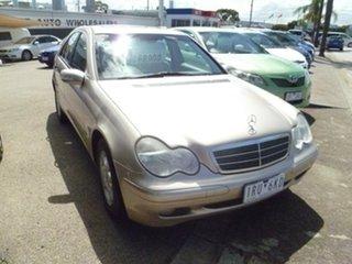 2002 Mercedes-Benz C-Class W203 C200 Kompressor Classic Gold 5 Speed Sports Automatic Sedan.