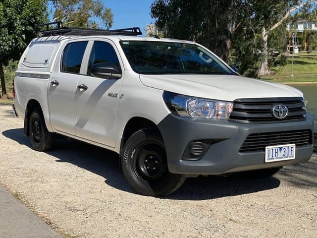 Used Toyota Hilux TGN121R Workmate Double Cab 4x2 Wodonga, 2016 Toyota Hilux TGN121R Workmate Double Cab 4x2 White 6 Speed Sports Automatic Utility