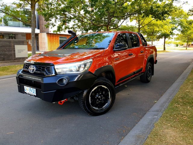 Used Toyota Hilux GUN126R Rugged X Double Cab Launceston, 2018 Toyota Hilux GUN126R Rugged X Double Cab Orange 6 Speed Sports Automatic Utility