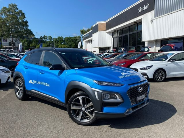 Demo Hyundai Kona OS.3 MY20 Highlander 2WD Penrith, 2020 Hyundai Kona OS.3 MY20 Highlander 2WD Blue Lagoon & Black Roof 6 Speed Automatic Wagon