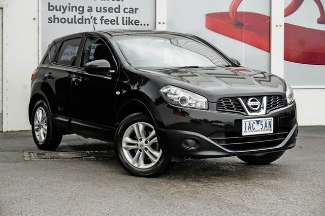 Pre-Owned Nissan Dualis J10W Series 3 MY12 ST Hatch X-tronic 2WD Ferntree Gully, 2013 Nissan Dualis J10W Series 3 MY12 ST Hatch X-tronic 2WD Black 6 Speed Constant Variable
