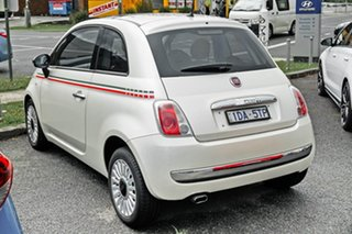 2014 Fiat 500 Series 3 Lounge Dualogic White 5 Speed Sports Automatic Single Clutch Hatchback.