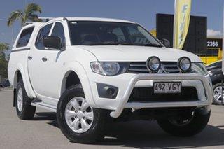 2014 Mitsubishi Triton MN MY15 GLX Double Cab White Solid 4 Speed Sports Automatic Utility.