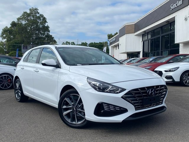 Demo Hyundai i30 PD.V4 MY21 Active Penrith, 2020 Hyundai i30 PD.V4 MY21 Active Polar White 6 Speed Sports Automatic Hatchback