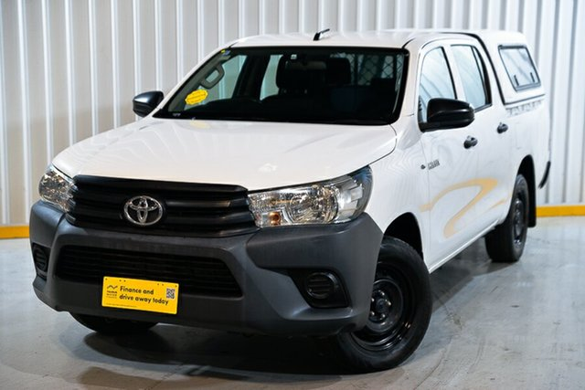 Used Toyota Hilux GUN122R Workmate Double Cab 4x2 Hendra, 2016 Toyota Hilux GUN122R Workmate Double Cab 4x2 White 5 Speed Manual Utility