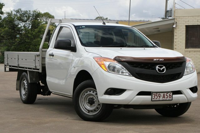 Used Mazda BT-50 UP0YD1 XT 4x2 Bundamba, 2013 Mazda BT-50 UP0YD1 XT 4x2 Cool White 6 Speed Manual Cab Chassis