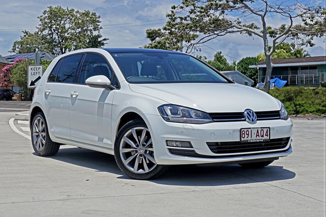 Used Volkswagen Golf VII MY15 103TSI DSG Highline Capalaba, 2015 Volkswagen Golf VII MY15 103TSI DSG Highline White 7 Speed Sports Automatic Dual Clutch