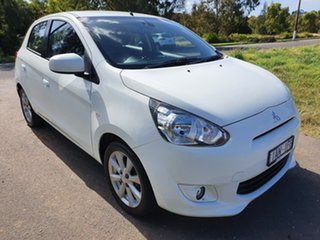 2014 Mitsubishi Mirage LA LS White Constant Variable Hatchback.