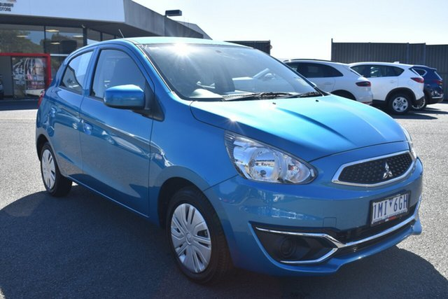 Used Mitsubishi Mirage LA MY17 ES Wantirna South, 2017 Mitsubishi Mirage LA MY17 ES Blue 1 Speed Constant Variable Hatchback