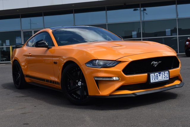 Used Ford Mustang FN 2019MY GT Essendon Fields, 2018 Ford Mustang FN 2019MY GT Orange Fury 6 Speed Manual Fastback