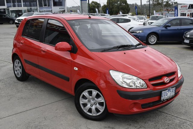 Used Hyundai Getz TB MY06 Ferntree Gully, 2007 Hyundai Getz TB MY06 Red 5 Speed Manual Hatchback