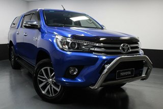 2016 Toyota Hilux GUN126R SR5 Double Cab Blue 6 Speed Sports Automatic Utility.