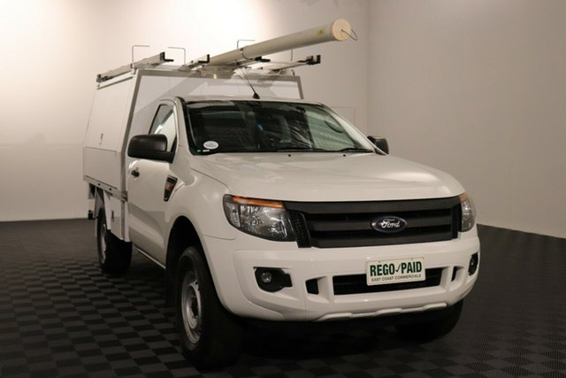 Used Ford Ranger PX XL Hi-Rider Acacia Ridge, 2014 Ford Ranger PX XL Hi-Rider Cool White 6 speed Manual Cab Chassis