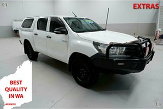 2015 Toyota Hilux GUN125R Workmate Double Cab White 6 Speed Sports Automatic Utility.